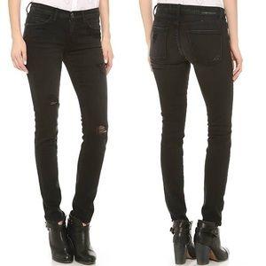 NWT The Ankle Skinny Overdye Black Destroy Jean